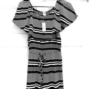 Black and White stripe romper